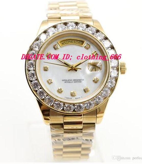 Montres de luxe montres en or 18 carats pour hommes Big Diamond Bezel Bracelet en acier inoxydable Bracelet automatique montres pour hommes