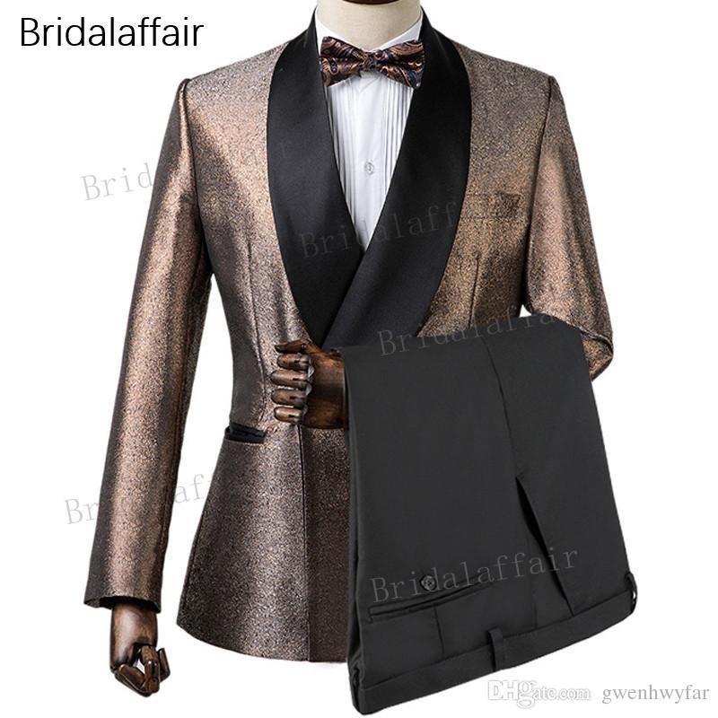 Gwenhwyfar Custom Made Groom Tuxedos Gold Shiny Men Suit Set For Wedding Prom Fashion Slim Fit Mens Suits 2 Piece (Jacket+Black Pants)