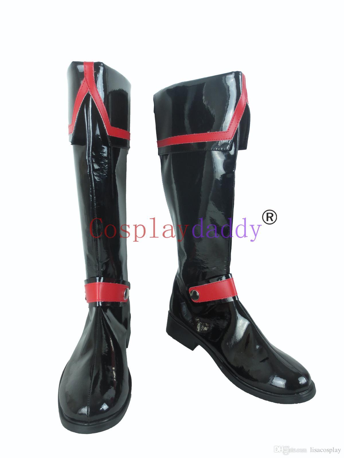 D.Gray man Allen Walker Black Halloween Long Cosplay Shoes Boots C006
