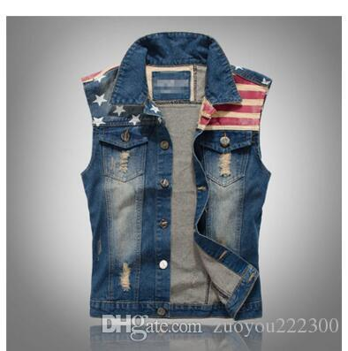Cool Lok novo estilo coreano, desgaste dos homens, jeans, colete, jeans masculino, colete, bandeira e colete de lazer.