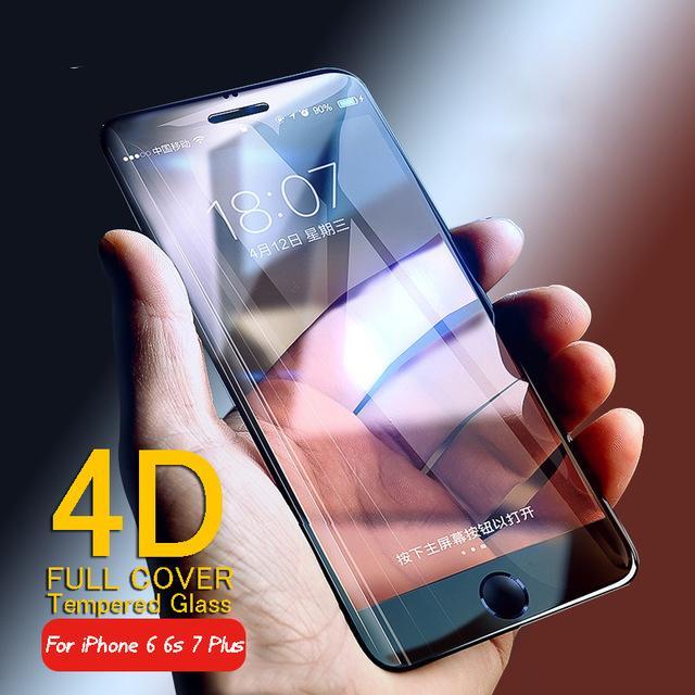 4d cobertura completa de vidro temperado para iphone 6 vidro 6 s 7 plus protetor de tela iphone 7 vidro filme hd borda curva