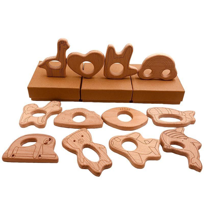 شكل مختلف الطفل خشبية عضاضة القلب الزرافة سحابة فنجر الدب الأسماك تصميم الطبيعة التمريض الطفل الخشب التسنين لعبة الخشب الحرفية