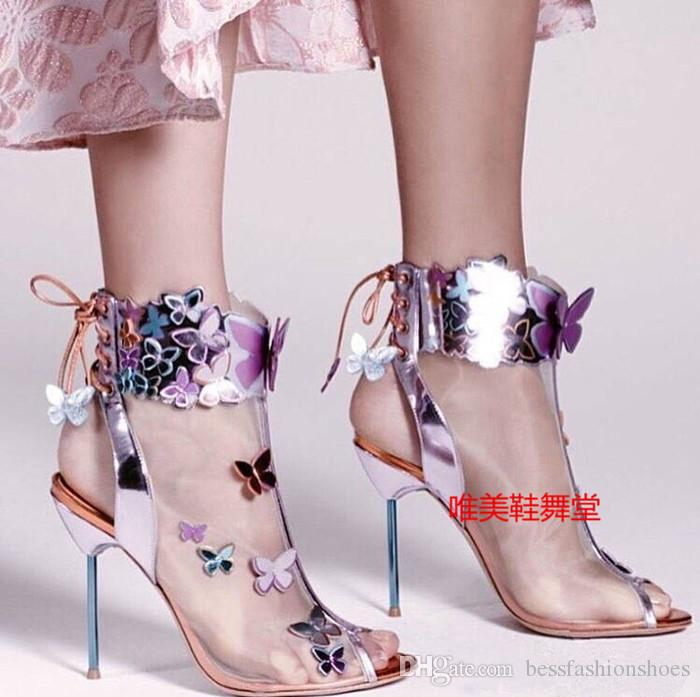 Sophia Webster Harmony Mesh 3D Butterfly Bootie Rosa/Turquoise/Orange high heel women's summer peep toe sandals boots zapatos mujers