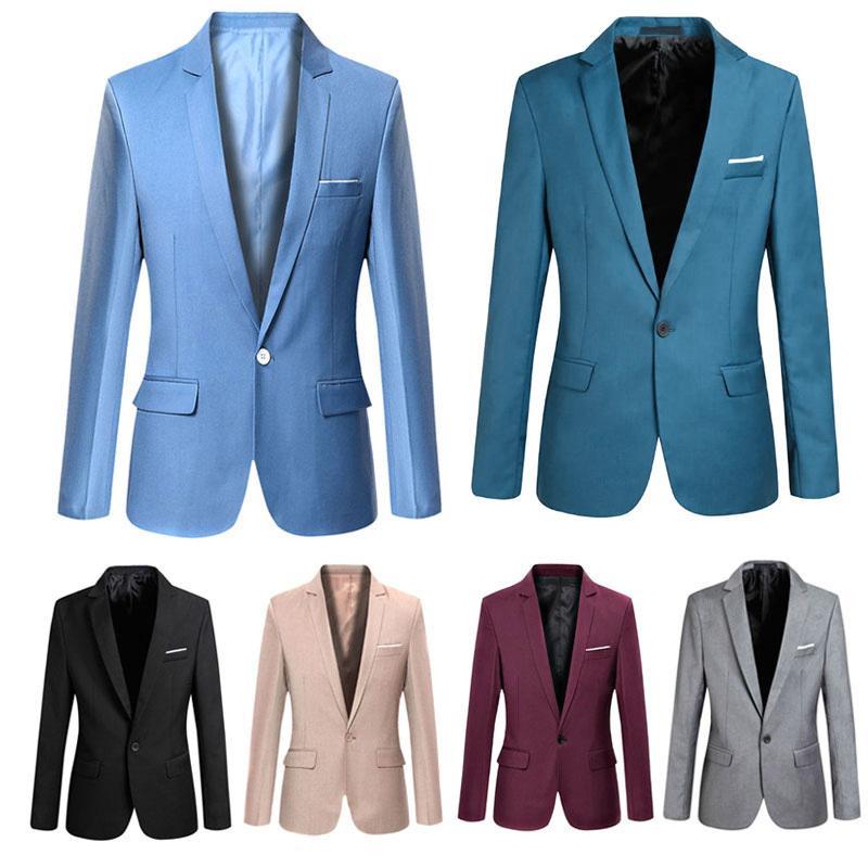 Мода весна осень мужчины Blazer с длинным рукавом сплошной цвет тонкий человек повседневная тонкий костюм куртка офис блейзеры плюс размер S-6XL H9 D18101001