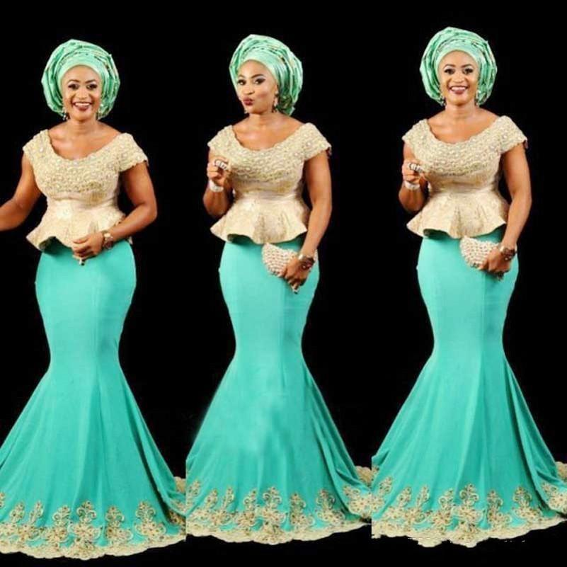 Aso Ebi Black Girls Mermaid Abiti da sera Scoop Cap maniche Peplo africano Prom Dress Lungo pizzo Appliques Beads formale Cocktail Party Dress