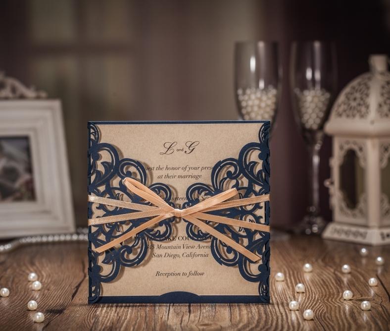 50PCS Spedizione gratuita blu navy inviti di nozze taglio laser invito carta Kraft CW6175B