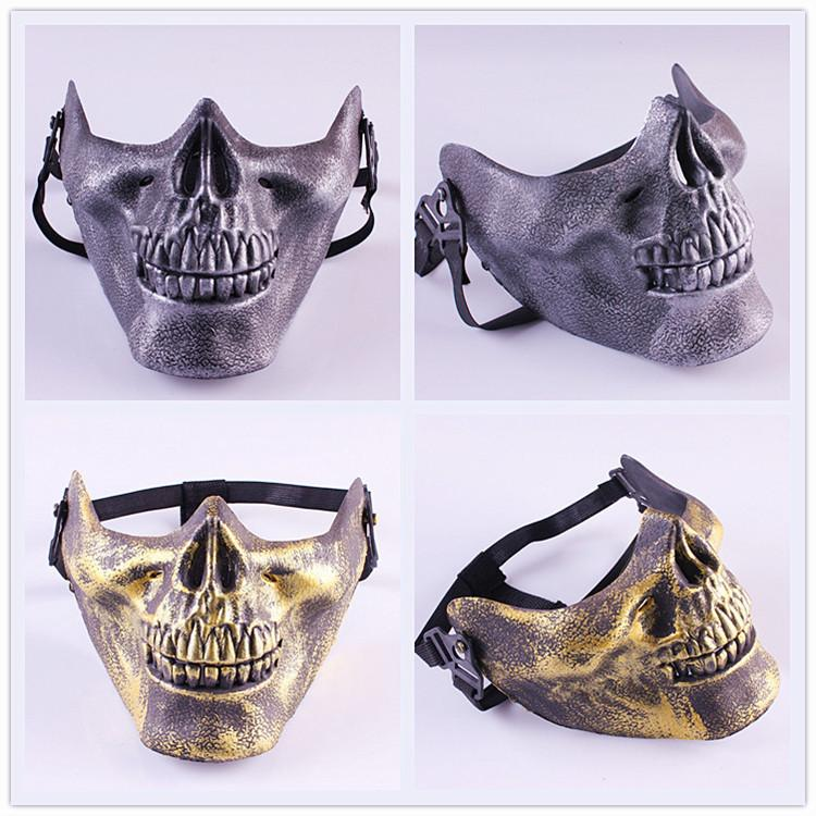 100pcs CS Skull Skeleton Airsoft Paintball Half Face Protective Mask For Halloween Gift