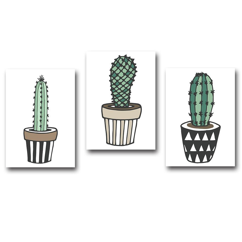 Nordic Art Plant Cactus Canvas Poster Painting Modern Nursery A4 Wall Picture Children Kids Room Decor Home Decoration