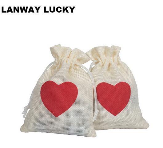 AMOR rojo de la boda del bolso del caramelo con cordón bolsa de arpillera bolsa de arpillera para cualquier decoración del partido de lino del bolso del favor 10 * 15 cm