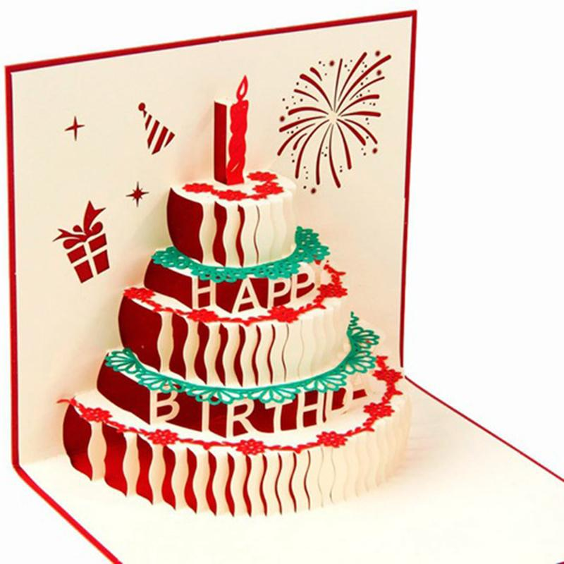 Strange 3D Greeting Card Handcrafted Origami Birthday Cake Candle Design Funny Birthday Cards Online Alyptdamsfinfo