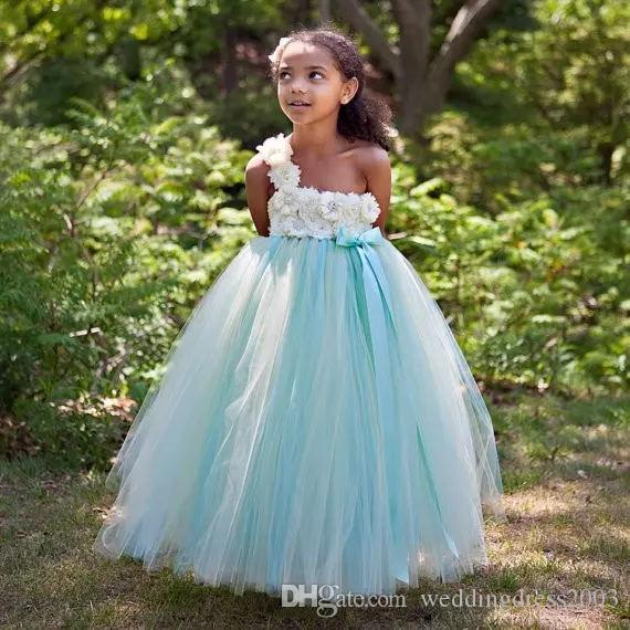 mint and ivory full-length ball gown flower girl dress new 2019 most beautiful one shoulder floral boidce tulle girls party dresses flower