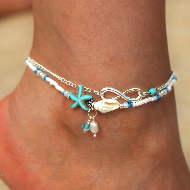 10 pi/èces femmes plage bracelets de cheville /à la main tortue /étoiles de mer shell cheville r/églable boho cha/îne de cheville pied bijoux pour plage d/ét/é
