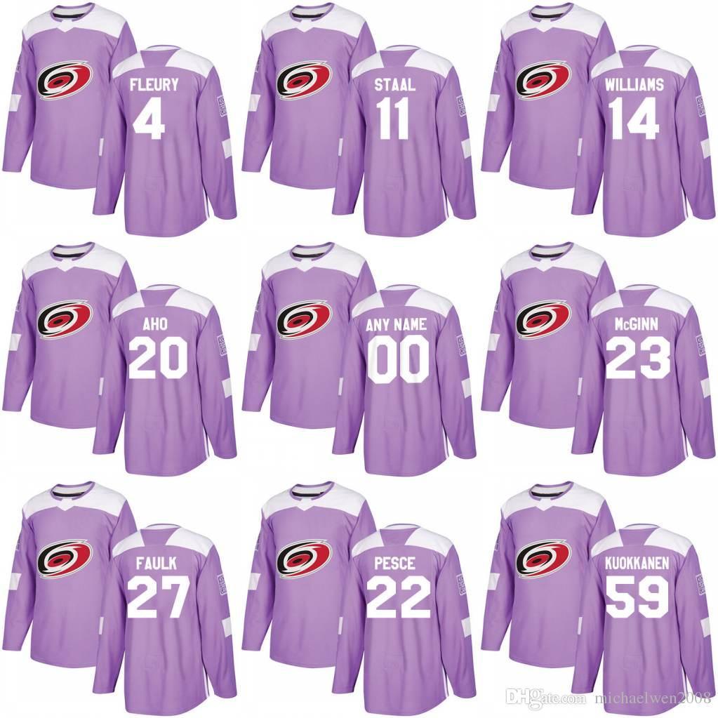 2018 Peleas contra el cáncer Jersey 21 Lee Stempniak 14 Justin Williams 6 Klas Dahlbeck 27 Justin Faulk Carolina Hurricanes Camisetas de hockey personalizadas