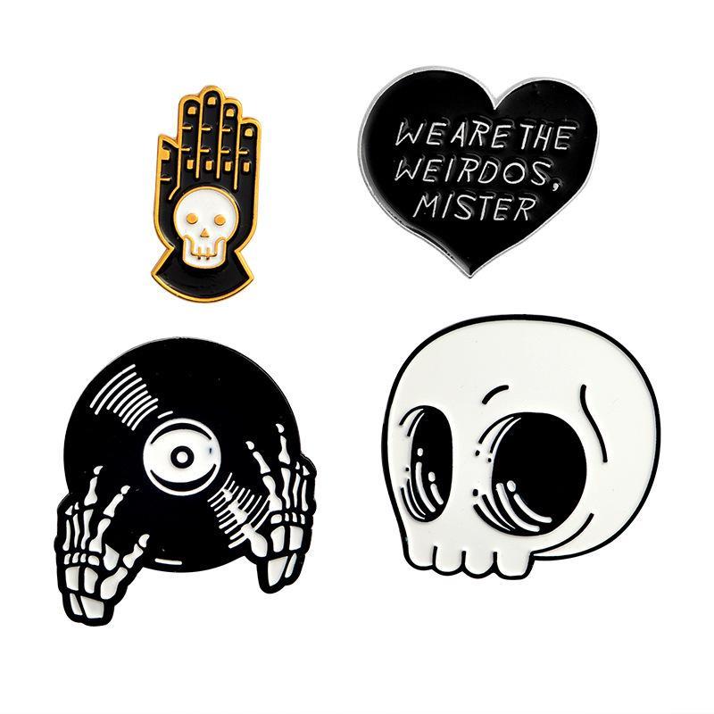 Halloween skull pin weirods scheletro testa e mani smalto pins spille punk gotico gioielli spille per uomo donna unisex spedizione gratuita