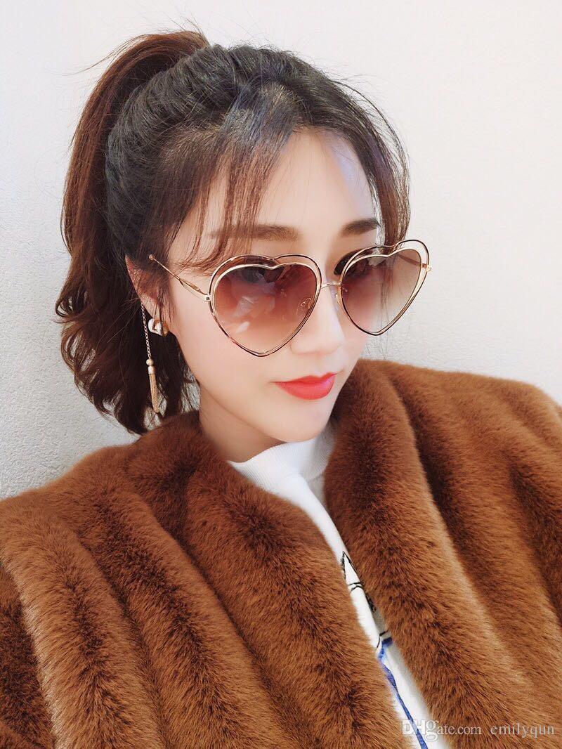 الإطار أزياء كبير نظارات شمسية نسائية نظارات على شكل قلب ميتيل الإطار النظارات الشمسية العلامة التجارية مصمم الوردي عدسة النظارات الشمسية مع القضية الأصل
