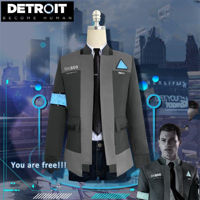 ¡Nuevo! Juego Detroit: Conviértete en Humano Connor Cosplay Traje RK800 Agente Traje de Halloween Carnaval uniformes disfraces