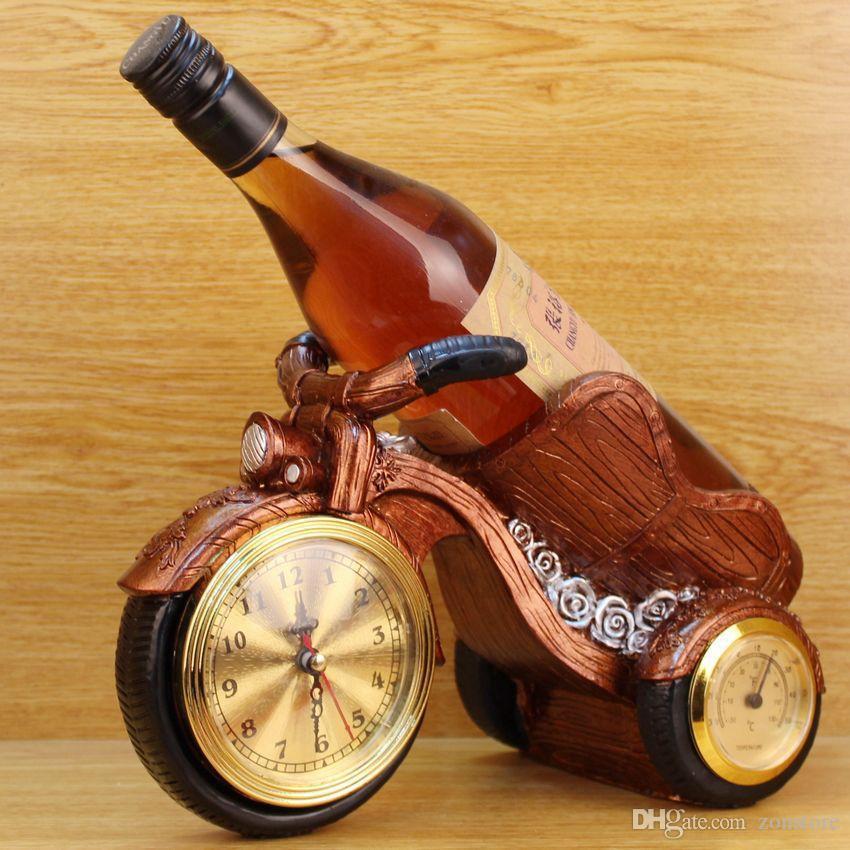 ريترو جديد 2019 دراجة نارية تمثال النبيذ حامل الراتنج النبيذ الرف حامل كوك زجاجة النبيذ حامل مع ووتش ميزان الحرارة عشاء رومانسي