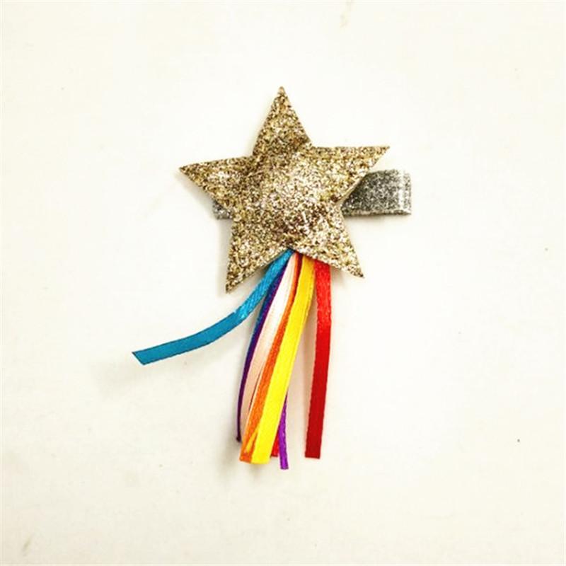 Подарки для вечеринок 12 шт. / Лот Non Slip Cotton Inside Glitter Star Кисточки Заколки для волос Золотая Розовая Звезда С Блестящей Серебряной Шпилькой Заколка
