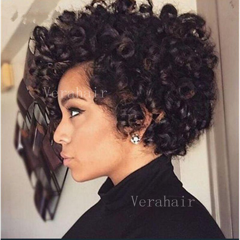 Pixie cabelo curto perucas Afro Kinky Curly brasileiro perucas de cabelo Rihanna penteados Barato melhor cabelo humano Kinky Curly Nenhum perucas