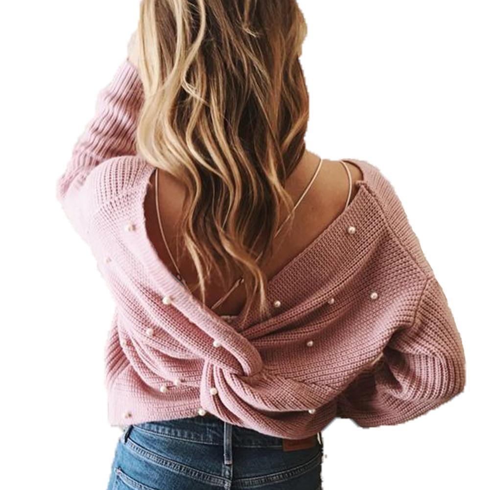 Zurück V-Ausschnitt Perle Perlendetail Twist Pullover 2018 Mode Langarm Niveau Pullover Pullover Frauen Lässige Stricken Jumper
