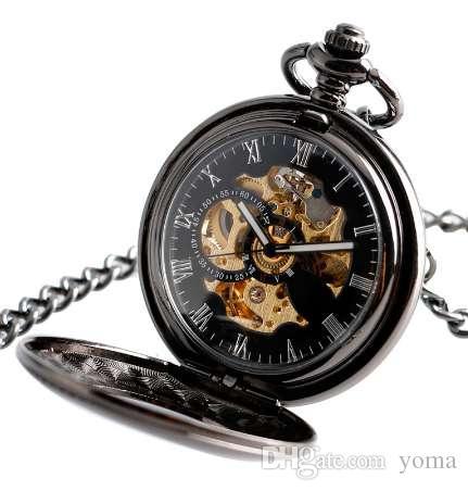 Reloj de bolsillo mecánico automático de la vendimia hombres hueco cadena exquisita caso liso colgante relojes reloj de hora negro retro para hombre