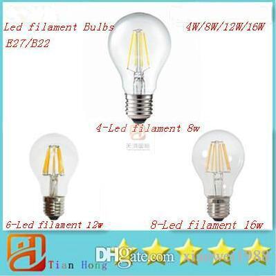 Super brillante E27 Bombillas de filamento de LED Luz 360 Ángulo A60 Luces LED Lámpara Edison 4W / 8W / 12W / 16W 110-240V Garantía 3 años