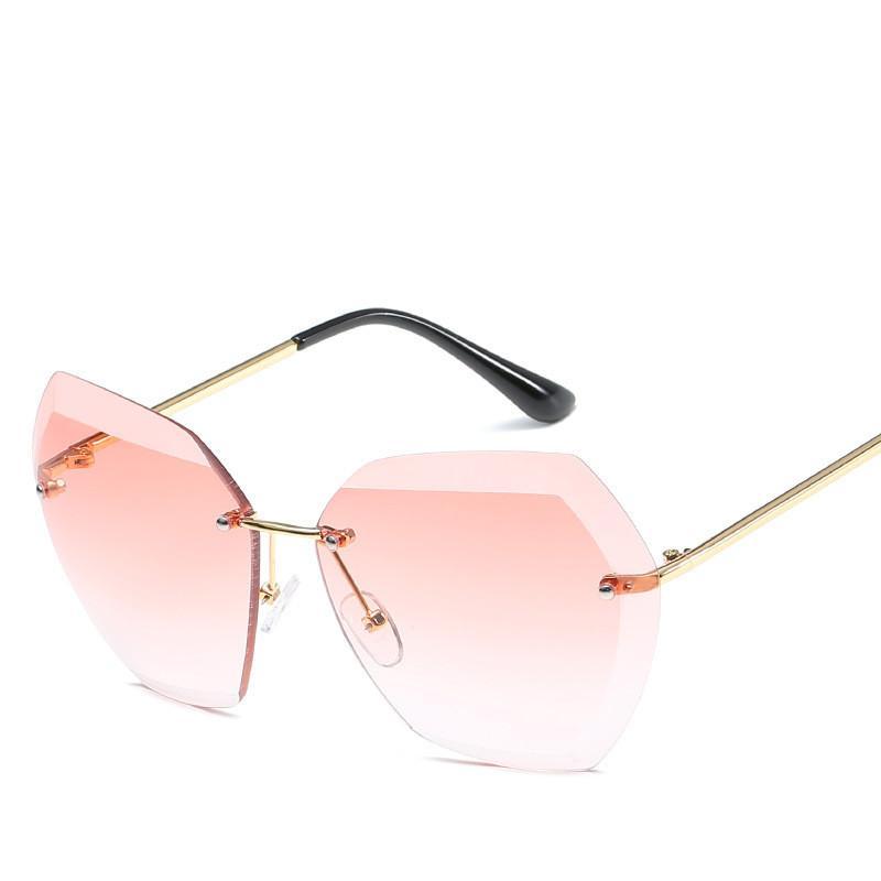 2018 Gafas de sol de Gafas de Sol para Mujeres Mujeres Retro Vidrios Transparentes Ladies Sun Rimless Atrayos Mujeres XHGRW