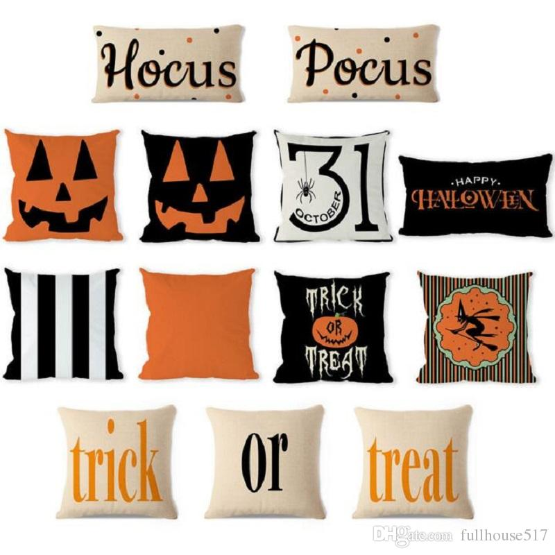 Pleasant Halloween Decorative Abstract Pumpkin Treat Or Trick Home Decor Square Throw Pillow Case Covers Cotton Linen Pillowcases For Couch Patio Body Pillow Onthecornerstone Fun Painted Chair Ideas Images Onthecornerstoneorg