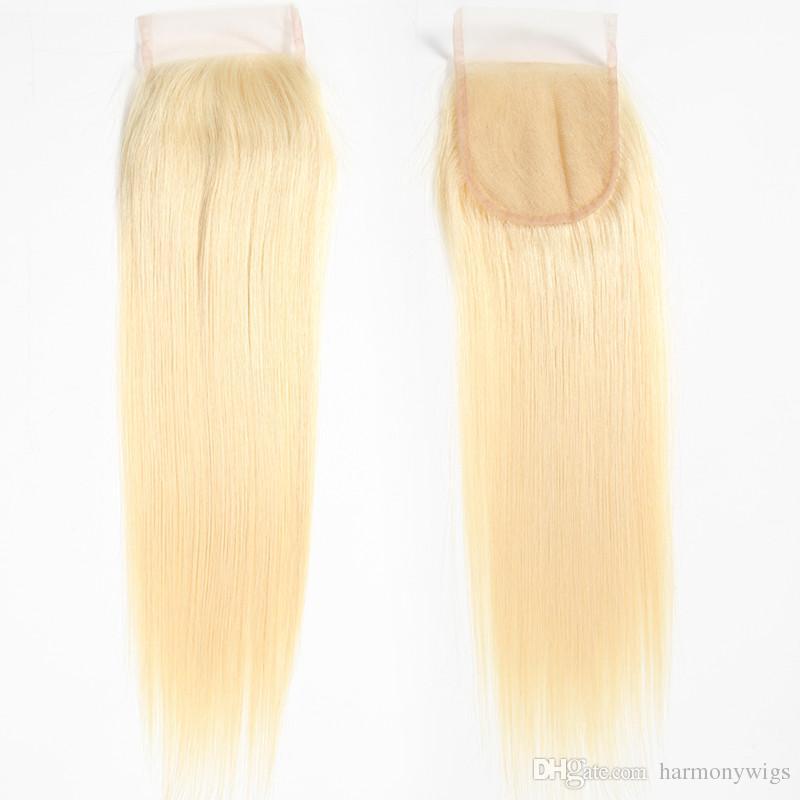 Virgin Brazilian Hair Closure 613 Blonde 4X4 Lace Cloure Straight Body Indian Peruano Malayo Extensiones de cabello humano