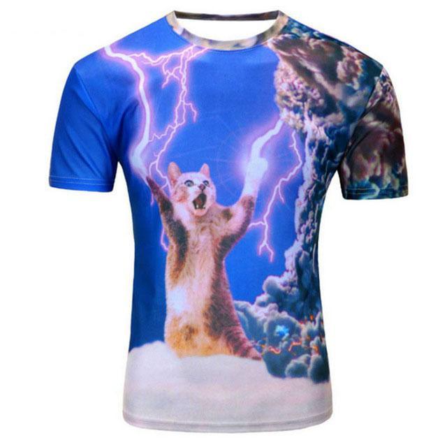 Nuova maglietta 3D della galassia della maglietta magliette divertenti di estate del bicchierino delle magliette divertenti degli uomini