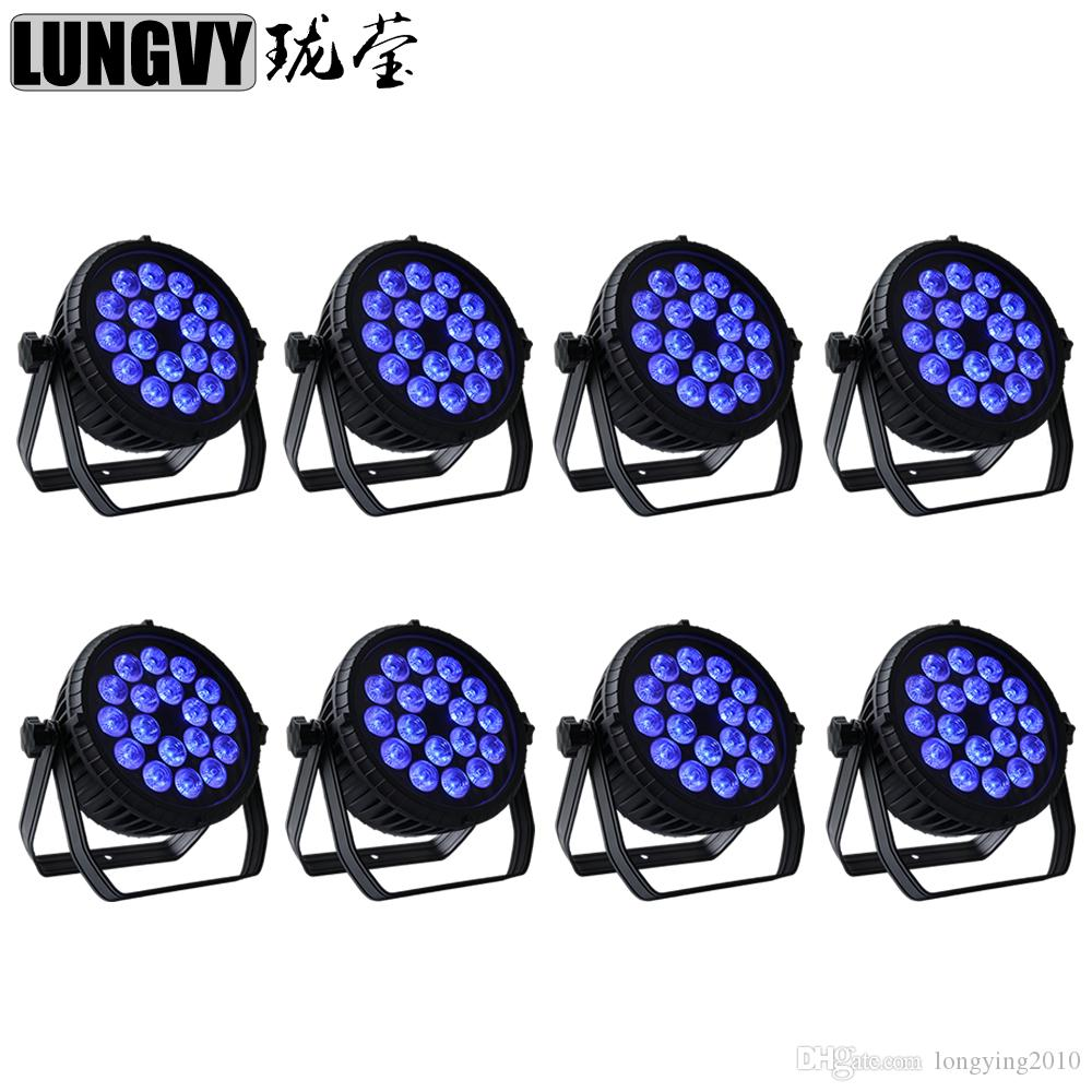 8pcs/lot 18x18w RGBWA UV 6in1 Indoor LED Par Light DMX512 For Disco DJ Stage Projector
