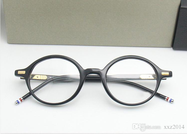 High-quality TB407 glass retro-vintage small-round frame 46-23-145 pure-plank with full-set case prescription galssses freeshipping