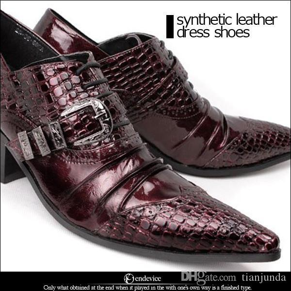 Scarpe in pelle Gothic Rock Man Shoes Business Pelle Formale Vestito Scarpe da uomo 6.5cm Tacchi alti Scarpe da sposa per uomo Vino rosso, Big Taglie EU38-46