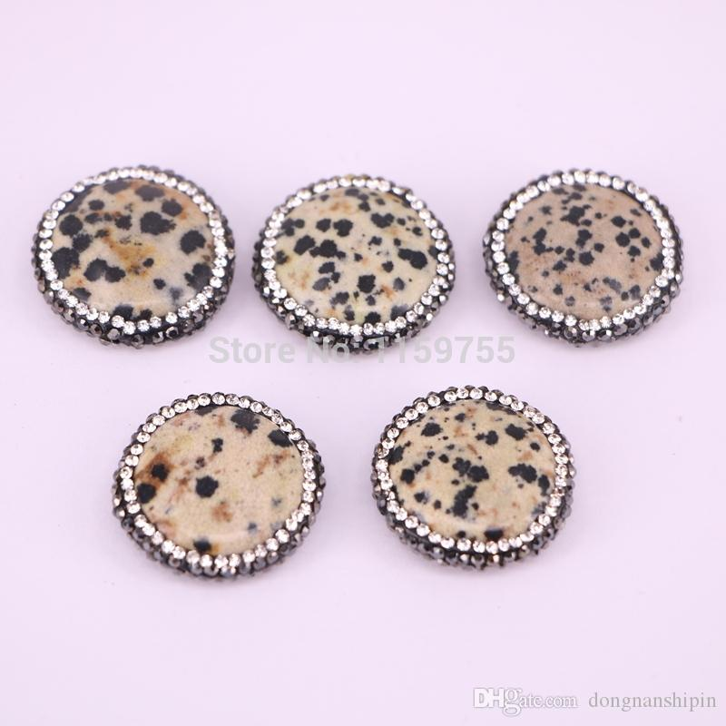 10PCS Natural Stone Beads Charms Round Shape With Crystal Rhinestone Paved Bead Connector Jewelry Finding