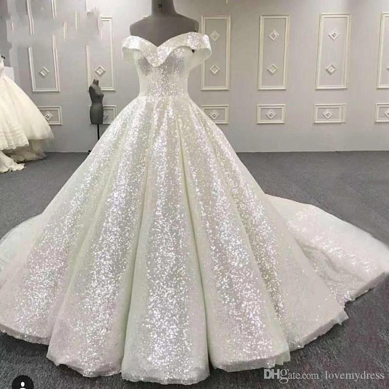 Sparkly Bling Wedding Dresses Off the shoulder with Sleeves Sequined Fabric Ball Gown V neck Court Train Cheap Bridal Gowns Fashion