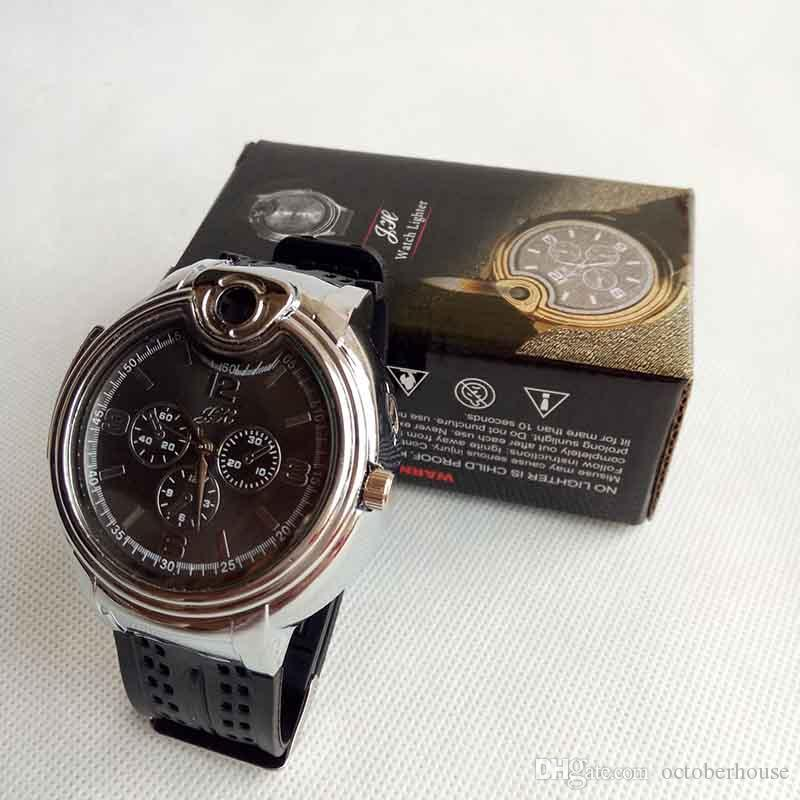 Collectible Watch Cigarette Butane Cigarette lighter Flame No Gas Refillable Cigar Lighters Watches With Gift Box 2 Color Can