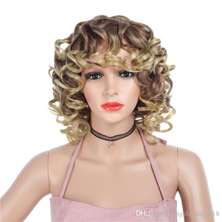Short Wig Wavy women Hair with Hair European and American Chemical Fiber Wig Short Bob Wigs Hair Women's Headgear Fluffy Big Curls