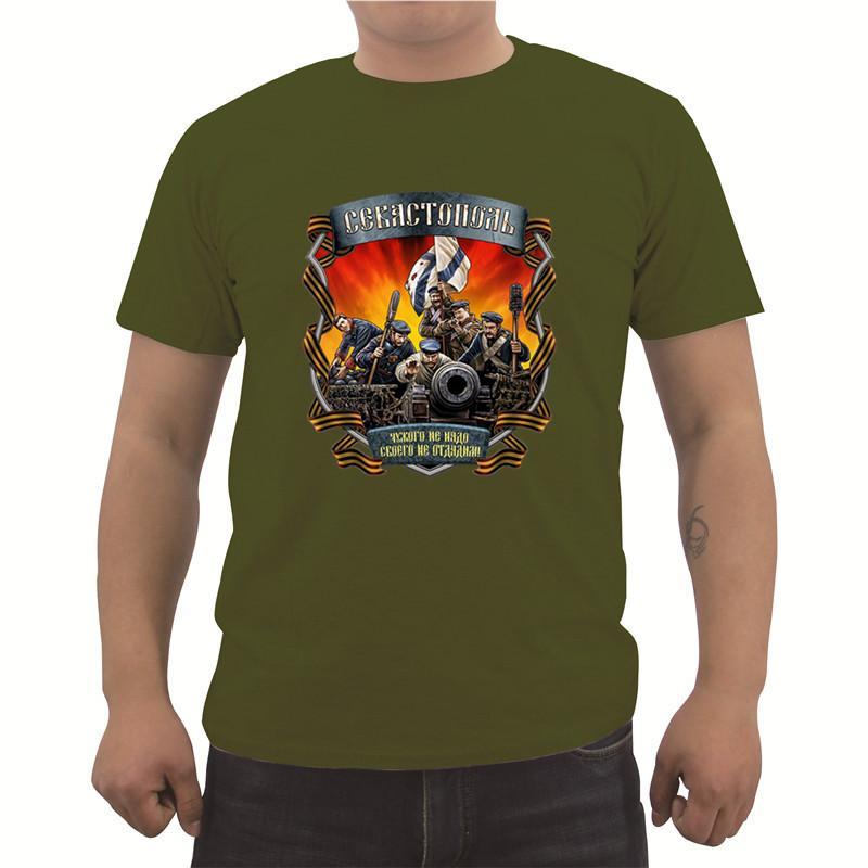 """Novo Verão Rússia """"sevastopol"""" Imprimir T-shirt dos homens Algodão Casuais de Manga Curta O-pescoço T Shirt Moda Tops Tees Streetwear"""
