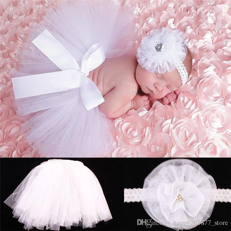 Baby photo props Newborn fotografia Prop bambino ragazze gonna tut/ù tuta fascia fascia per capelli set Purple