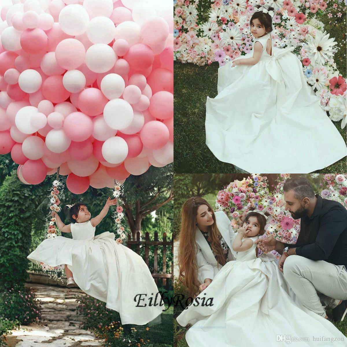 Elegant Ivory Flower Girl Dresses for Weddings Jewel Neck Sweetheart Beaded Back Bow Sweep Train Little Girls Pageant Wedding Dresses Kids
