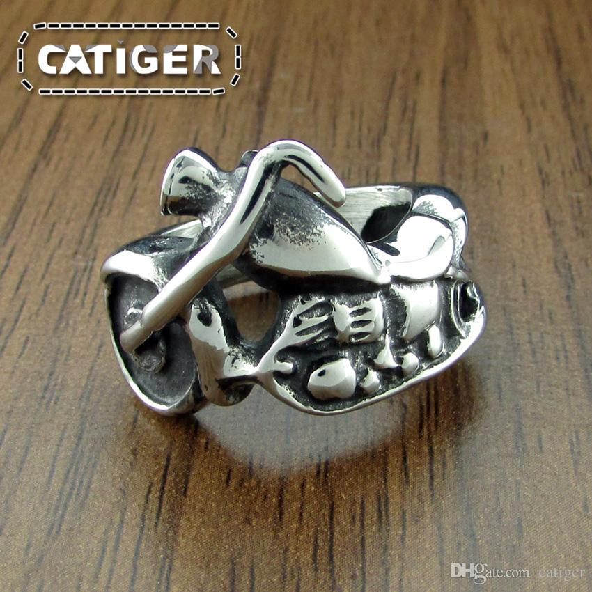 Free Shipping ! Mens Motor Biker Exquisite 316L Stainless Steel Motorcycle Ring