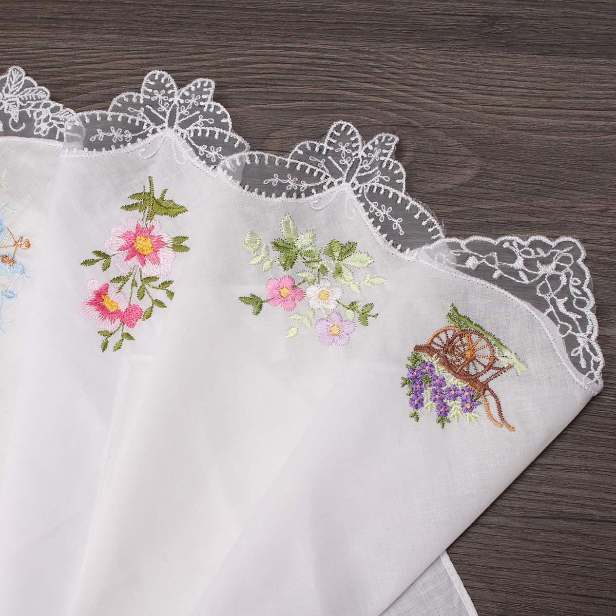 24PCS Vintage Pamuk Kadınlar Hankins İşlemeli Kelebek Dantel Çiçek Hanky Çiçek Karışık Bezi Bayanlar Mendil Kumaşlar
