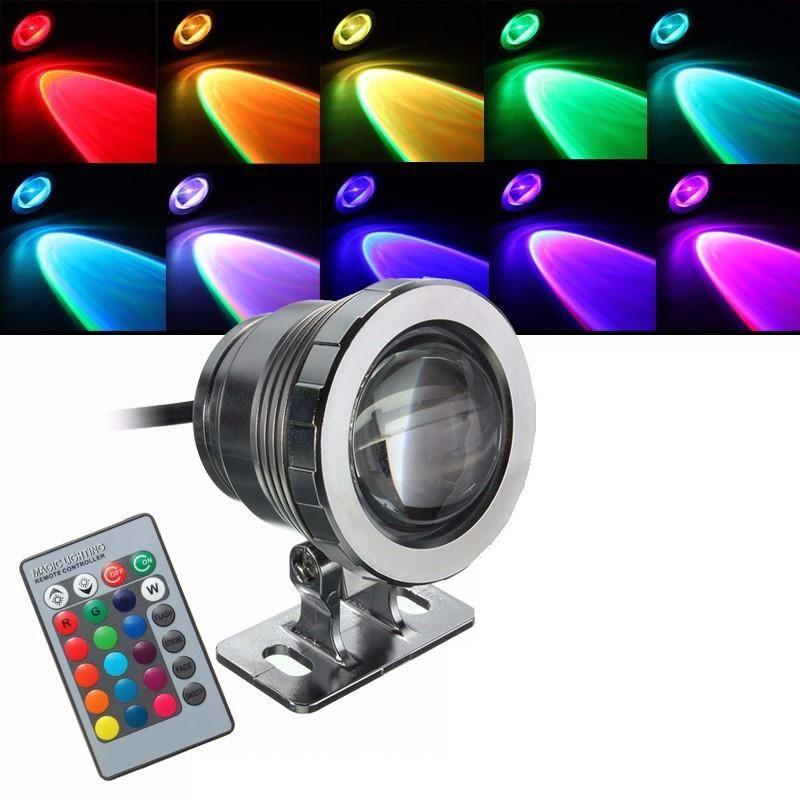10W RGB LED Subacqueo luce impermeabile IP68 Fontana piscina 16 Cambiamento colorato con telecomando 24Key IR