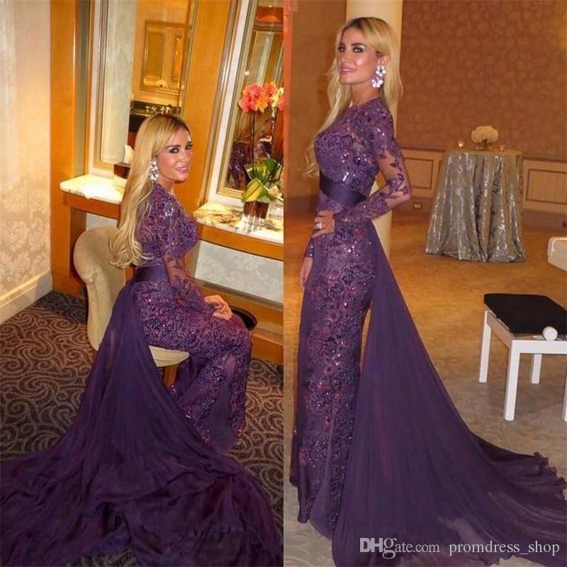 2019 Purple Full Lace Beads Long Sleeves Evening Dresses Vestido De Festa Evening Gowns with Detachable Train Sheer Long Prom Dresses Formal