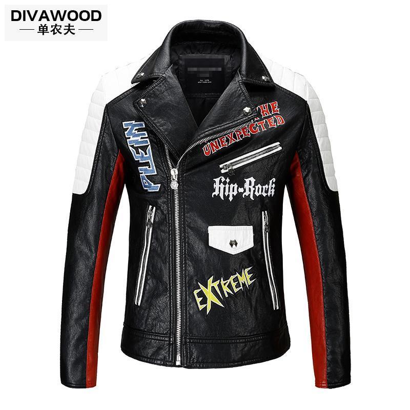 Gros-2017 nouveaux hommes de moto en cuir vêtements de conception courte à manches longues slim veste en cuir de vêtements de plein air ainsi que des costumes de chanteur de taille