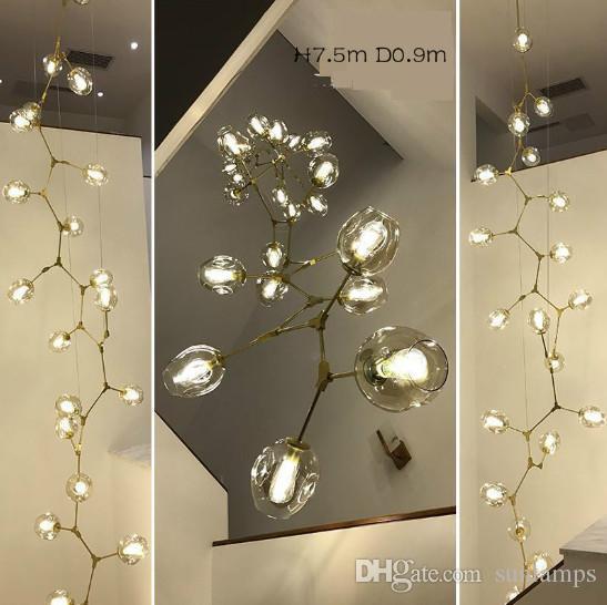 Regron Nordic Lustre Lights Led Lustres En Verre Leuchter Moderne De Luxe Naturel Minimalisme Suspension Lampe Luminaires Escalier
