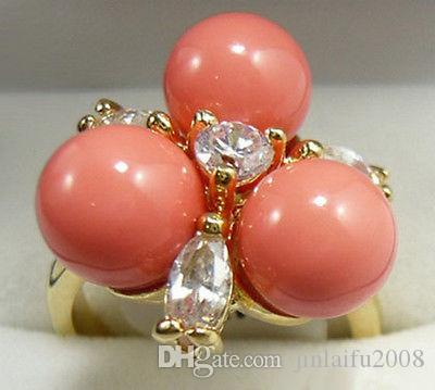 Commercio all'ingrosso perline di corallo rosa cristallo fiore anello placcato oro giallo Dimensioni: 6.7.8.9