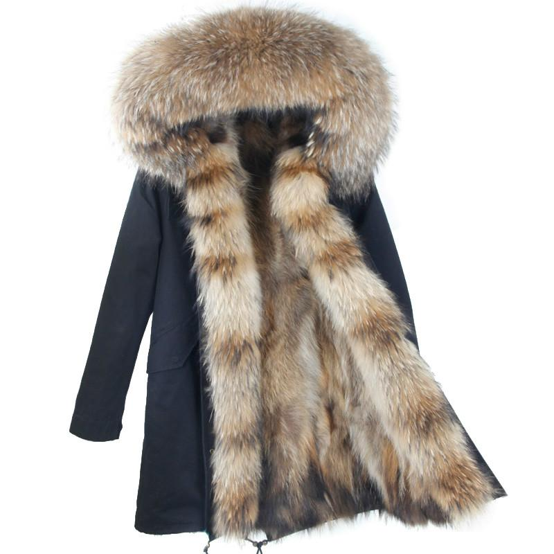 2018 Nuevo Abrigo de invierno Mujeres Abrigo Parka Marca Natural Mapache Cuello de Piel Capucha Casual Parkas Desmontable 3 En 1 Abrigos de Lujo