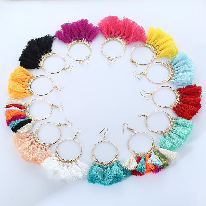 Many Colors Boho Fan Shaped Tassel Earrings Korea Holiday Exaggerated Bohemia Dangle Earrings Cotton Thread Handmade Woman Jewelry