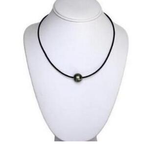 Détails Livraison gratuite Détails sur 12mm collier de perles noires de Tahiti naturelles en cuir